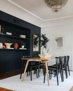 World Market Chair, Los Angeles Apartments, Black Dining Chairs, Dark Blue Dining Room, Kitchen Chairs, Mid-century Modern, Modern Rustic, New Homes, Apartment Therapy