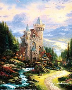 Thomas Kinkade Guardian Castle painting for sale, this painting is available as handmade reproduction. Shop for Thomas Kinkade Guardian Castle painting and frame at a discount of off. Thomas Kinkade Art, Thomas Kinkade Puzzles, Kinkade Paintings, Oil Paintings, Thomas Kincaid, Art Thomas, Beautiful Paintings, Pretty Pictures, Amazing Art