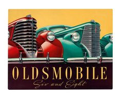 Car brochures were the original car ad. This one's all about the Oldsmobile Six and Eight models of 1937, the gold standards of prewar car design. The illustration, notes Automobile Design Graphics, is more children's book than pin-up, with the vehicles' large and gleaming grilles evoking images of adventuring ocean liners.  | Credit: Jim Heimann Collection/TASCHEN