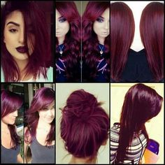 albums of Magenta Burgundy Hair Color Explore thousands of red purple hair - Red Hair Pelo Color Vino, Pelo Color Borgoña, Burgendy Hair Color, Color Red, Burgundy Colour, Burgundy Bob, Violet Red Hair Color, Purple Burgundy Hair, Black Cherry Red Hair
