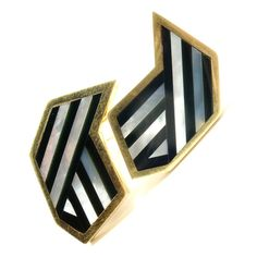 Tiffany & Co Inlaid Black Jade & Mother of Pearl Yellow Gold Earrings