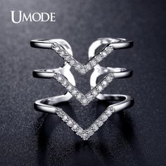 Hot Style Micro CZ Three V Shape Ring White Gold Plated Pave Luxury Rings For Women Jewelry Fashion Gift AUR0360B