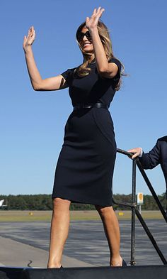Melania channeled her inner Jackie O wearing a sheath dress and black shades to campaign in Wilmington, North Carolina. Photo: Chip Somodevilla/Getty Images