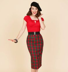 Look what's just come back into stock! Our popular Bottle Tartan Pencil skirt! Team this beauty with one of our slash neck tops for a glamorous winter warmer look. #vivienofholloway #voh #tartan #burnsnight #pencilskirt #vintage #vintagestyle #vintagegirl #madeinlondon #1940s #1950s