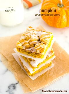 Pumpkin Snickerdoodle Bars are thick and buttery, slightly gooey, with big pumpkin and warm spice flavor. They're cozy, comforting, and perfectly fall.