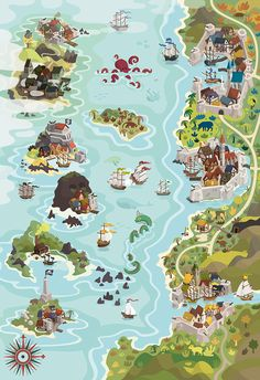 Rumsmuggler ☠ Board Game  Ilustração. Mapa. Pirata.  Navegação. Illustration. Map. Pirate. Harbor. Ship. Sea. King.