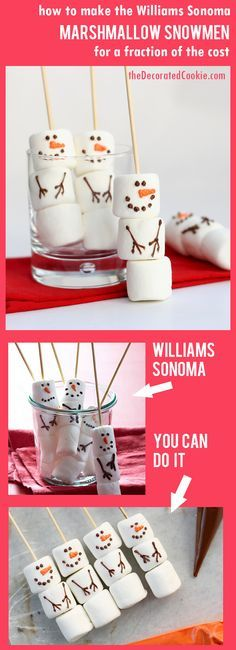 make your own Williams Sonoma marshmallow snowmen for a fraction of the cost christmas food treats Christmas Party Food, Xmas Food, Christmas Sweets, Christmas Cooking, Christmas Goodies, Christmas Crafts, Christmas Ideas, Christmas Christmas, Christmas Candy Bar