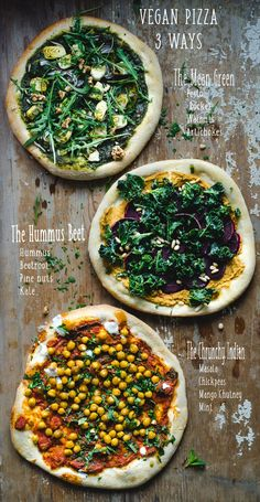 Pizza vegana - 3 maneras - The Mean Green, The Hummus Beet y The Crunchy Indian . - Pizza vegana – 3 maneras – El verde malo, la remolacha Hummus y el indio crujiente … – Efect - Clean Eating Recipes, Healthy Dinner Recipes, Indian Food Recipes, Diet Recipes, Vegetarian Recipes, Healthy Eating, Pizza Recipes, Vegan Indian Food, Vegan Beet Recipes