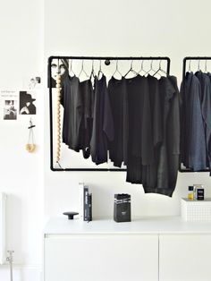 A minimal open wardrobe diy for your bedroom - DIY home decor - Your DIY Family This DIY hanging clothes rack is a real space saver in a bedroom. I've paired it with ikea hack k Bedroom Storage Ideas For Clothes, Small Bedroom Storage, Ikea Storage, Clothing Storage, Storage Room, Small Bedrooms, Clothing Racks, Small Storage, Storage Spaces