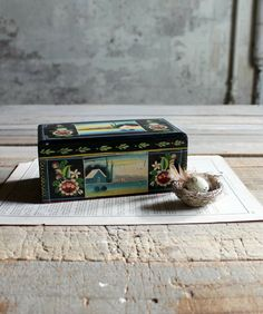 Vintage Hand Painted Wooden Box by therhubarbstudio on Etsy