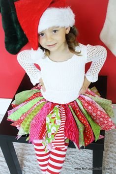 PINK Christmas Holiday Scrap Fabric Tutu  Skirt