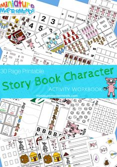 30 Page Printable Story Book Character Activity Workbook
