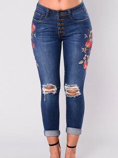 5311e4e1aff0f Stretch Embroidered Jeans For Women Elastic Blue Flower Jeans Female Pencil Denim  Pants Rose Pattern Pantalon Femme