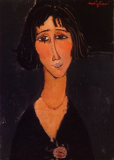 Young Girl Wearing a Rose 1916 | Amedeo Modigliani | Oil Painting #modglianipaintings