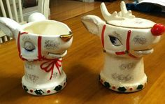 Vintage Christmas Holt Howard HH Japan Rudolph Reindeer Sugar and Creamer set