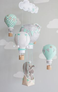 Elephant Mobile Hot Air Balloons Baby Mobile by sunshineandvodka