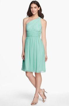 Donna Morgan 'Rhea' One-Shoulder Chiffon Dress | Nordstrom  Love this color and style for bridesmaids
