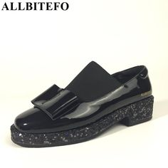 (51.38$)  Watch more here - http://aiyaf.worlditems.win/all/product.php?id=32778057473 - ALLBITEFO fashion sweet bowtie genuine leather square toe thick heel platform women pumps spring low-heeled comfortable shoes
