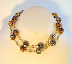 Fabulous Vintage Italian Millefiori Bead Necklace shown doubled    #vintagebeadnecklace #Italianbeads #millifioribeads $79.00