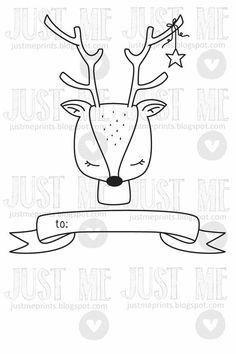 Sweet chevreuil tag digital timbre de Noël par JustMEdigitalstamps