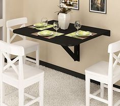 One wall kitchen is a typical kitchen design which utilizes only one side of kitchen wall and it is the perfect design for small kitchen to make it Wall Table Diy, Wall Table Folding, Wall Mounted Dining Table, Folding Kitchen Table, Foldable Dining Table, Folding Walls, Diy Dining Table, Tiny Dining Rooms, Dining Room Design
