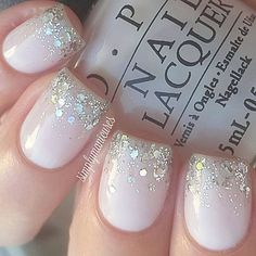 """This is (almost) always the first mani I do when I've had a nailbrake. This mani always make me happy again! And yes, the glitter is holographic heart_eyes base is """"act your beige"""" by @opisverige ]"""