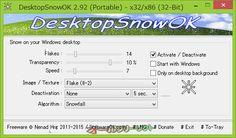 DesktopSnowOK 2.82  DesktopSnowOK--起動時の画面--オールフリーソフト