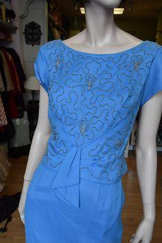 "1950's Hyacinth Blue, Beaded Silk Chiffon Cocktail Dress 38"" bust 32"" waist"