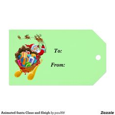 Animated Santa Claus and Sleigh Pack Of Gift Tags