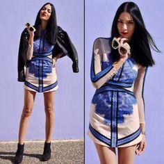 Sukienka Hit modowy koronkowa niebieska - SUKIENKI MOHHO.Collections