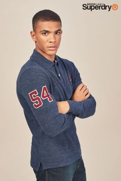 Buy Superdry Classic Long Sleeve Pique Poloshirt from the Next UK online shop Next Uk, Superdry, Uk Online, Pullover, Classic, Long Sleeve, Sweaters, Jackets, Xmas