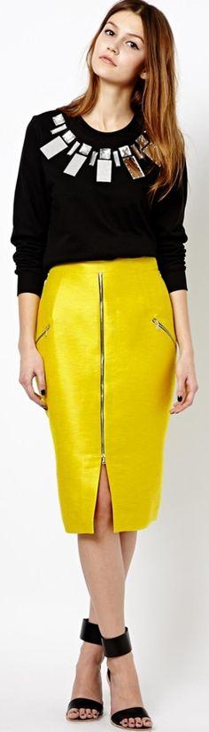 Markus Lupfer Zip Pencil Skirt in Neon Yellow