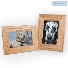 """NEW! Personalized In Memory Pet Frame (Dog) - Honour the memory of a special furry friend by displaying their picture for all to see. Beautifully laser-engraved wood frame has hinged easel back and holds a 4"""" x 6"""" photo. Choose portrait or landscape. $19.98 CAD"""