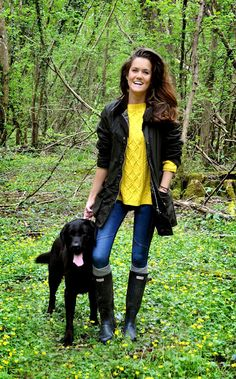 Weekend Adventure in the woods- Love the yellow sweater!
