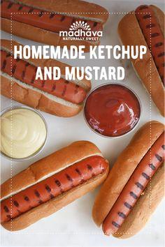 Out of The Park Homemade Ketchup & Mustard Tomato Ketchup Recipe, Homemade Ketchup, Homemade Honey Mustard, Corn Dogs, Baseball Season, Sweet Sauce, Game Day Food, Hot Dog Buns