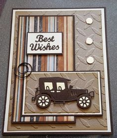 Homemade Fathers Day Cards to Make vintage car card Bday Cards, Birthday Cards For Men, Handmade Birthday Cards, Man Birthday, Greeting Cards Handmade, Cards For Men Handmade, Happy Birthday, Masculine Birthday Cards, Masculine Cards