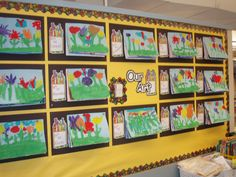 Year round Art bulletin board, keep pinning current Art up over old and at the end of the year take down and place in a portfolio for students to take home.