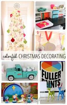 A home tour of a colorful home office and craft room with colorful Christmas decorating.