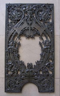 Louis H. Sullivan  & George Grant Elmslie. Teller Wicket. Cast Metal. Designed for the National Farmers Bank, Owatonna, Minnesota. 1907-1908.