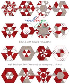 Even more Inklingo pieced Hexagons. These are fun to sew!