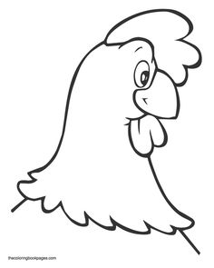 Rooster face coloring page to blow up and use as a mask