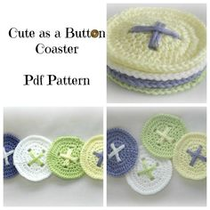 Cute As A Button Coaster Crochet Pattern by RubyNeedles on Etsy, $2.29