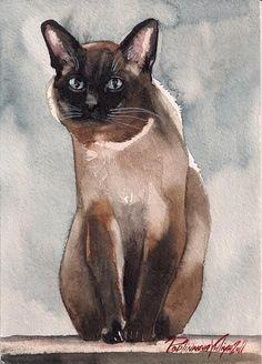 PRINT OF WATERCOLOR PAINTING SIAMESE CAT KITTY KITTEN   eBay