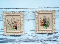 White Gesso Old Framed Floral Prints Shabby Chic.