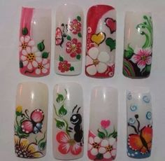 uñas flores Nails For Kids, Girls Nails, Nail Designs 2017, Nail Art Designs, Cute Nail Art, Beautiful Nail Art, Spring Nails, Summer Nails, Animal Nail Art