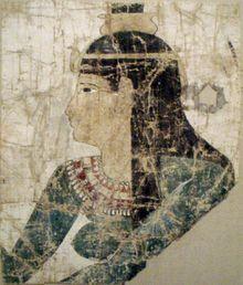 Nephthys - Greco-Roman era painted image on a linen and tempera shroud - c. 300-200 B.C. - Metropolitan Museum of Art