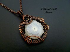 Solar Quartz Wire wrapped pendant / woven Wire jewelry by PillarOfSaltStudio
