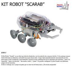 """KIT ROBOT SCARAB  El Kit Robot """"Scarab"""" es un robot que detecta obstáculos con la ayuda de dos sensores táctiles. Si las antenas (sensor  táctil) detectan  un obstáculo, el Scarab da un paso hacia atrás. Luego, hará automáticamente una maniobra de dos  pasos para evitar el obstáculo. Esta maniobra consiste en una combinación de los siguientes movimientos: """"girar a la  izquierda"""", """"girar a la derecha"""", """"dar medi a vuelta"""" y """"parar"""". Es posible configurar el robot Scarab con diferentes  juegos… Robot, Kit, Ants, Games, Robotics, Robots"""