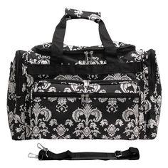 World Traveler Damask II 19 in. Shoulder Duffel Bag Black White Damask II - 81T19-630