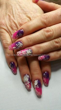 Purple and pink acrylic fade with 3d acrylic flowers